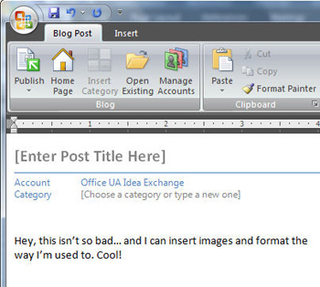 use word 2007 to post to the blog
