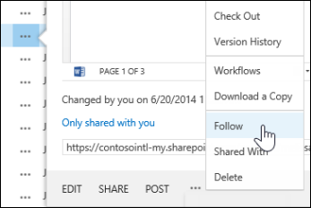 Select the Follow command in the hover card menu in OneDrive for Business to follow a document..