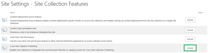 Activate the Cross-Site Collection Publishing feature