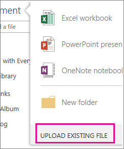 Upload existing file