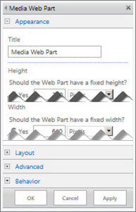 Screenshot of the Media Web Part edit panel, showing some of the properties that you can configure