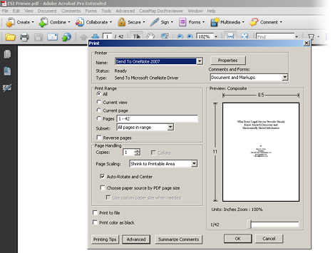 Print document to OneNote 2007