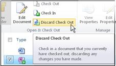 Discard checkout icon on the SharePoint ribbon