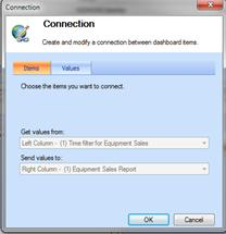 Connection Dialog Box, Items tab, showing report connections