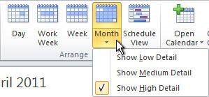 Change month calendar view detail options