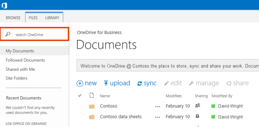 Screenshot of the One Drive Query Box in Office 365.
