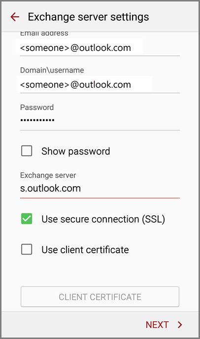Server settings for Outlook.com accounts