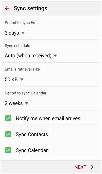 Select sync settings
