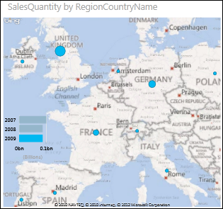 Power View map of Europe with bubbles showing sales amount