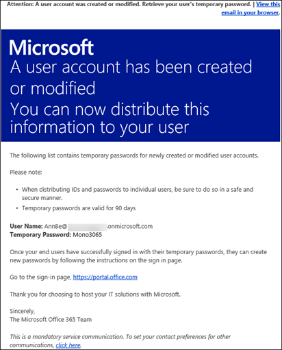 A sample email that has Office 365 account and logon information