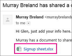 Email inviting recipient to share a document