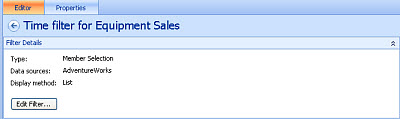 Screenshot of the Equipment Sales time filter
