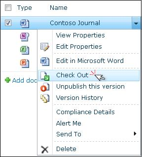 "Drop-down list for a Word file that is selected in a SharePoint list. ""Check Out"" is highlighted."