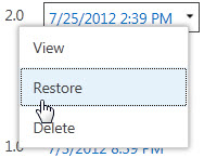 Restore previous version of web page