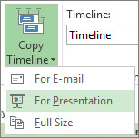 Copy Timeline button and menu in Project