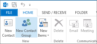 On the Home tab, click New Contact Group.