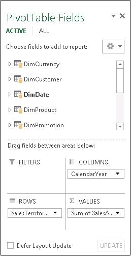 PivotTable Fields list