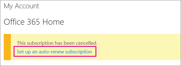 "Screen shot of the ""Set up auto-renew subscription"" link."