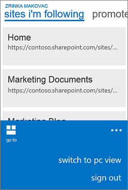 Menu to swtich from mobile view to pc view on a Windows Phone