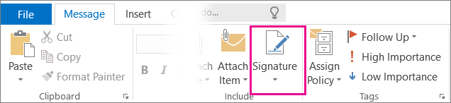 Outlook Signature Command in the Ribbon