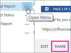 Click Open Menu, then click Share to send a link