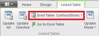 Linked ribbon indicating Excel table
