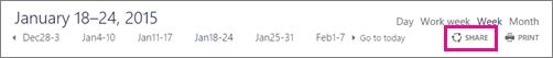 Share button at top of calendar window