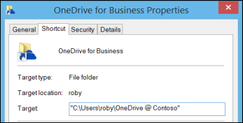 Folder properties for synced OneDrive for Business library folder