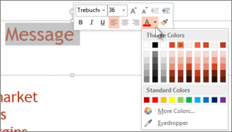 Change the color of text