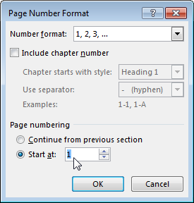 Page Number Format dialog box