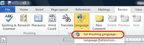 Word Ribbon Language button