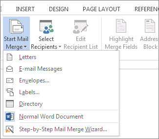 Start Mail Merge command