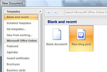 blog template in word 2007