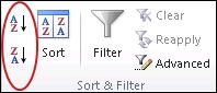Sort buttons in the Sort & Filter group on the Data tab in Excel