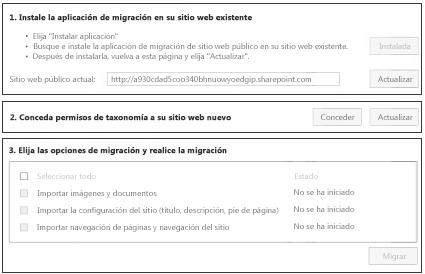 Aplicación Public Website Content Migration