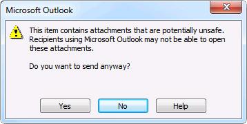 Cuadro de diálogo que notifica que se incluyen datos adjuntos posiblemente no seguros
