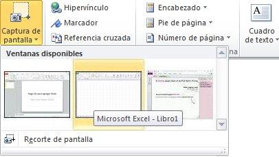 Galería Insertar captura de pantalla