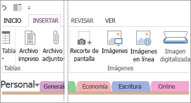 Inserte imágenes en OneNote.