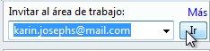 Invitar a un área de trabajo por correo electrónico