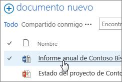 Haga clic en un documento para abrirlo