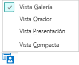 Captura de pantalla de vistas de reunión disponibles con la vista de Galería seleccionada