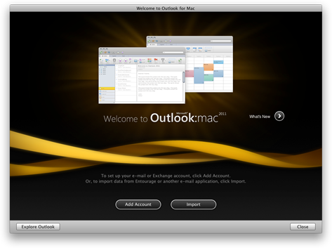 Pantalla de inicio de Outlook