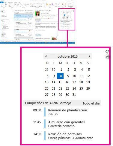 Comando Quitar la información de la vista del calendario anclada