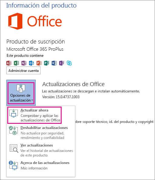 Buscando actualizaciones para Office de forma manual en Word 2013
