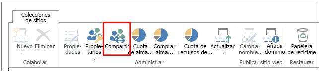 Cinta del Centro de administración de SharePoint Online con el botón Uso compartido resaltado