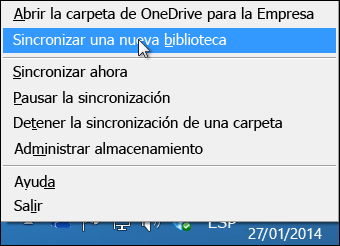 OneDrive para Business menú en el área de notificación de Windows