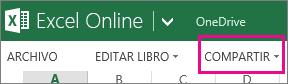 Comando Compartir en Excel Online cinta, en la vista de lectura