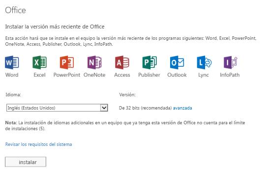 Instalar la última versión de la página Office
