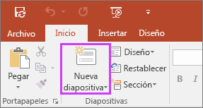 Muestra el botón Nueva diapositiva en la pestaña Inicio de la cinta de opciones de PowerPoint