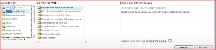 El selector de elementos web muestra el elemento web de Excel Web Access